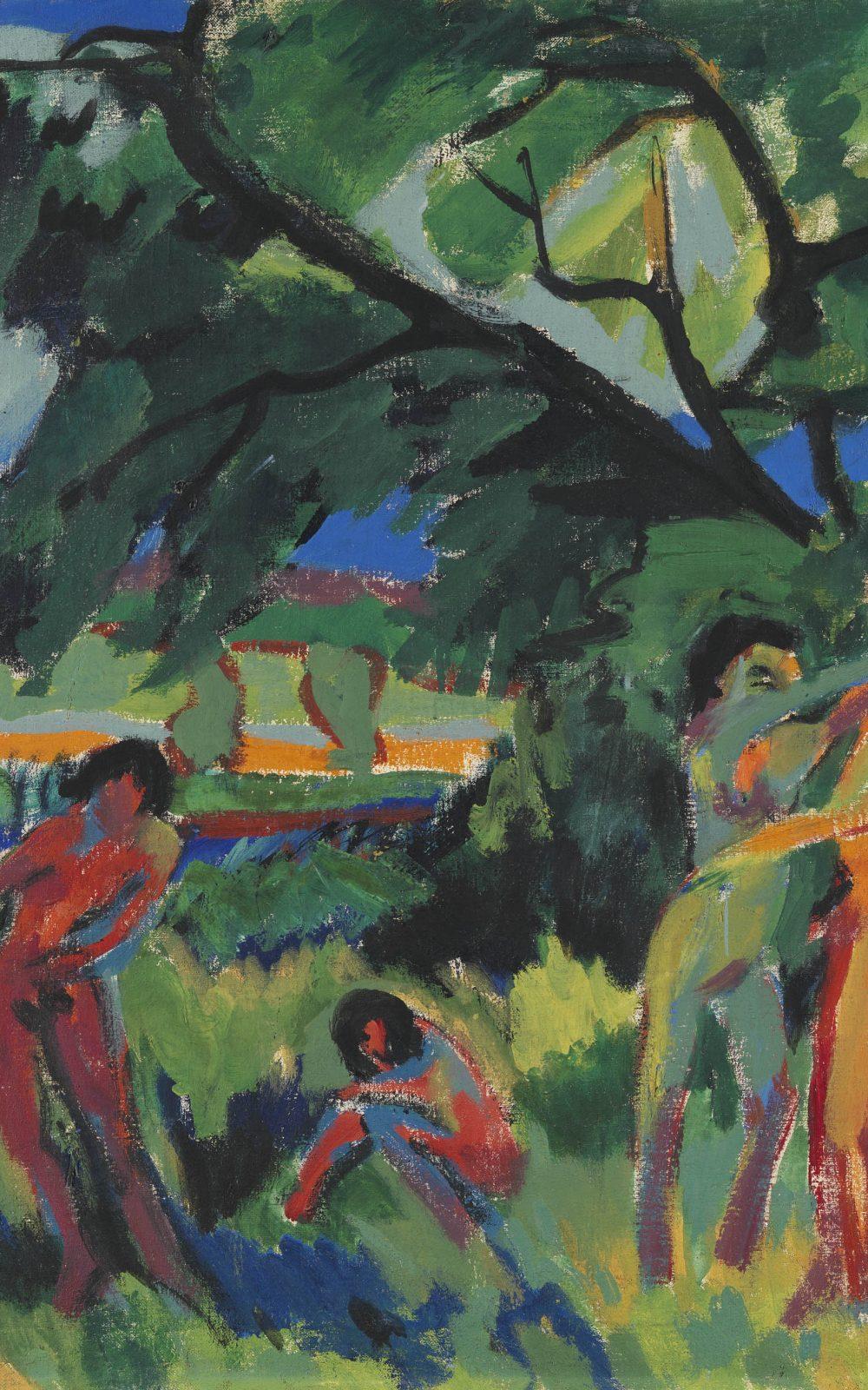 Ernst Ludwig Kirchner, Spielende nackte Menschen unter Baum